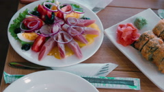 Herring Salad with eggs. Dish Stock Footage