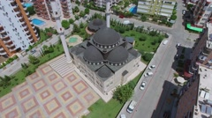 Mosque with two minarets in Mahmutlar district at summer Stock Footage
