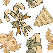 new year hand drawn pattern - stock illustration