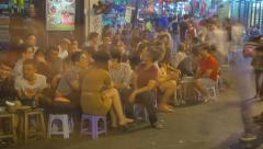 Street cafe on Bia Hoi corner district in Hanoi timelapse Stock Footage