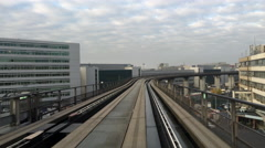 Tram ride at Frankfurt International Airport 4k - stock footage
