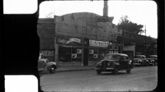 Cars Pass Street Scene Great Depression 1930s 1940s Vintage Film Home Movie 8843 Stock Footage