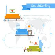 Couch Surfing and sharing economy concept. Vector illustration in flat style Stock Illustration