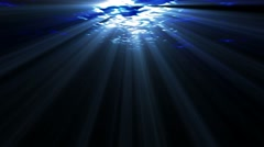 Underwater ocean waves, with light rays. Stock Footage