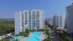 My Marine Residence with large pool at summer sunny day. Stock Footage