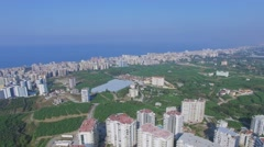 Panorama of Alania resort city at summer sunny day. Stock Footage