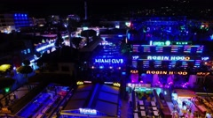 Urban sector with many night clubs at summer night. Stock Footage