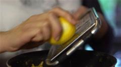 Grating lemon Stock Footage