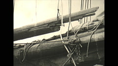 Vintage 16mm film, 1934, Sailboat, Uvera yacht sailing broken spar - stock footage