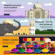 Travel to India banner vector set. Indian culture, tourist attractions - stock illustration