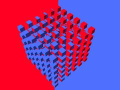 Well-organized located group of cubes of red-blue color Stock Illustration