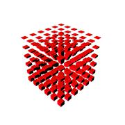Well-organized located group of cubes of red color on white background Stock Illustration