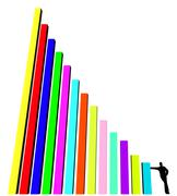 silhouette of business man, leaning against part of histogram on a white back - stock illustration