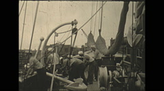 Vintage 16mm film, 1934, Sailboat, Uvera yacht silors working Stock Footage