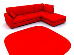Sofa and carpet in red tones on a white background Stock Illustration