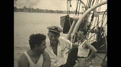 Vintage 16mm film, 1934, Sailboat, Uvera yacht people #2 Stock Footage