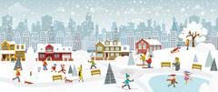 Weekend in the City (Winter) Stock Illustration