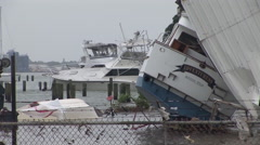 Hurricane Ike Marina Boat destruction Stock Footage