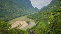 Muang Ngoy rural landscape slider timelapse Stock Footage