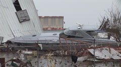 Hurricane Ike tears into marina Stock Footage