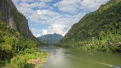 Nong Khiaw river landscape day timelapse Stock Footage