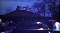 1949: Whirlpool Aero Car building parking lot crowd gathering. NIAGRA FALLS Stock Footage