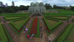 Stock Video Footage of Aerial View of Jardim Botanico (Botanical Garden) in Curitiba, Brazil