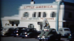 1949: Little America hotel cabins gas station rest stop care bar historic scene. Stock Footage