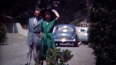 1949: Lovers on holiday getaway women in green fashion dress. ERIE, - stock footage