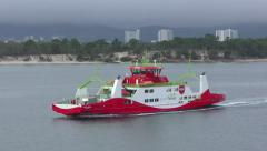 A Portuguese ferry crossed the bay near Troia Stock Footage