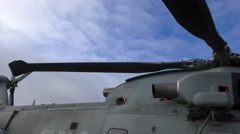 A helicopter on top of the British Royal Navy war boat Stock Footage