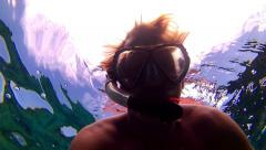 POV Man Snorkeling Dives Underwater Clear Clean Ocean Fun Vacation Adventure Stock Footage