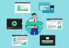 Web Virtual Socail Network Stock Illustration