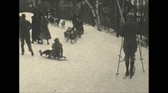Vintage 16mm film, 1934, Winter life, Pocono inn sports b-roll Dog sled Stock Footage