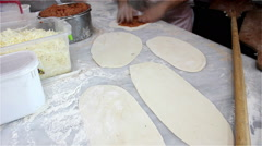 The Chef prepares the lahmacun Stock Footage