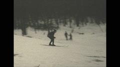 Vintage 16mm film, 1934, Winter life, Pocono inn sports b-roll ski crash, minor Stock Footage