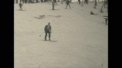 Vintage 16mm film, 1934, Winter life, Pocono inn sports b-roll toboggan Stock Footage