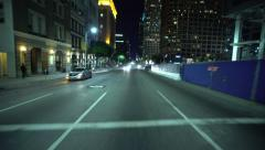 4K Driving Plates LA Downtown Figueroa St Rear View 01 North bound at Wilshire Stock Footage