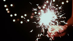 Christmas and newyear party sparkler on black Stock Footage