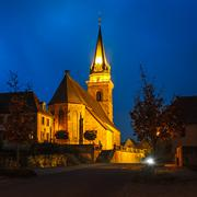Stock Photo of The Church in Bergheim in the evening light, Alsace, France