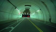 4K Driving Plates Tunnels Night 01 Rear View LA Downtown 2nd Street Tunnel East Stock Footage