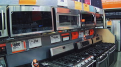Kitchen Stoves Display In Home Improvement Store Stock Footage
