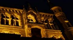 4k Nightshot medieval castle in mountain range Harz Stock Footage