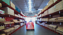 Lumber On Racks At Home Improvement Or Hardware Store Stock Footage