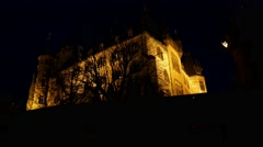4k Nightshot medieval castle in mountain range Harz Stock Footage