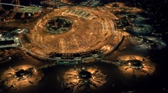 Airport at night. Airplane terminal departure and arrival gate. Shot on Red Epic - stock footage