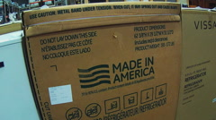 Made In America Designation On Printed Appliance Box - stock footage