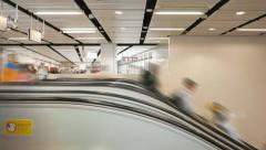 People move up and down, many escalators, side view, smooth time lapse Stock Footage