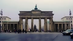 View of the Brandenburg Gate in Berlin - stock footage