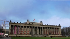 Panning view of Berlin cathedral and the Altes museum Stock Footage